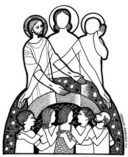 One of Cerezo Barredo's powerful images, this one illustrating the Trinity