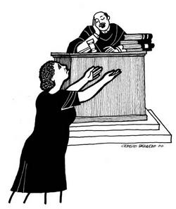 Pounding on the doors of injustice … Cerezo Barredo's illustration for Luke 18:1–8