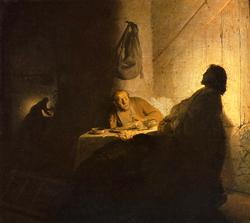 Rembrandt's first Supper at Emmaus (1628)
