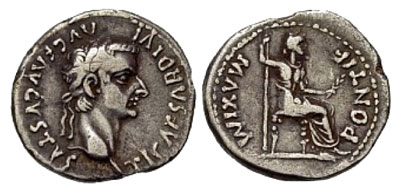 A silver tribute penny: a denarius from the reign of Tiberius (14–37AD)
